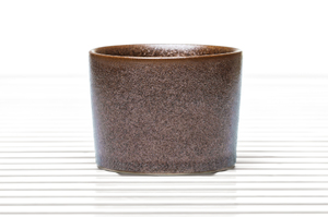 Cylinder Shaped Tea Bowl With Brown And Amber Speckled Glaze
