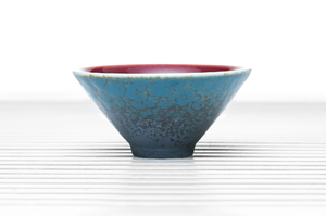 Conical Tea Bowl With Blue Spotted Outer Glaze And Сrimson Inner Glaze
