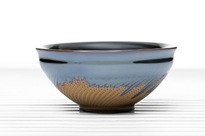 Deep Flared Tea Bowl  With Metallic Glaze