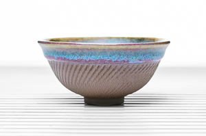 Hemisphere Tea Bowl With Purple Crackle Glaze And Multicolored rim