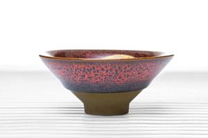 Crimson Glazed Conical Tea Bowl With Golden Leaf Pattern