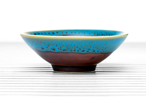 Maroon Conical Tea Bowl With Blue Spotted Rim And Golden Leaf Pattern